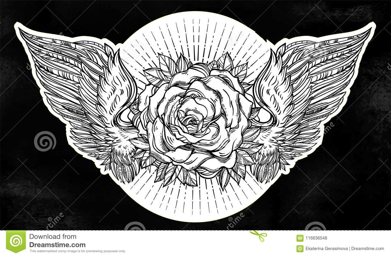 Beautiful Rose Flower With Angel Or Bird Wings Stock Vector