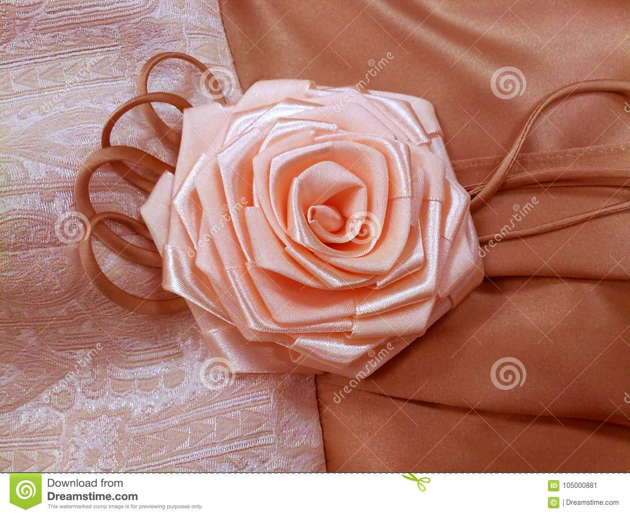 Beautiful Rose Handmade Flower Of Ribbons Garment Element Decoration ...