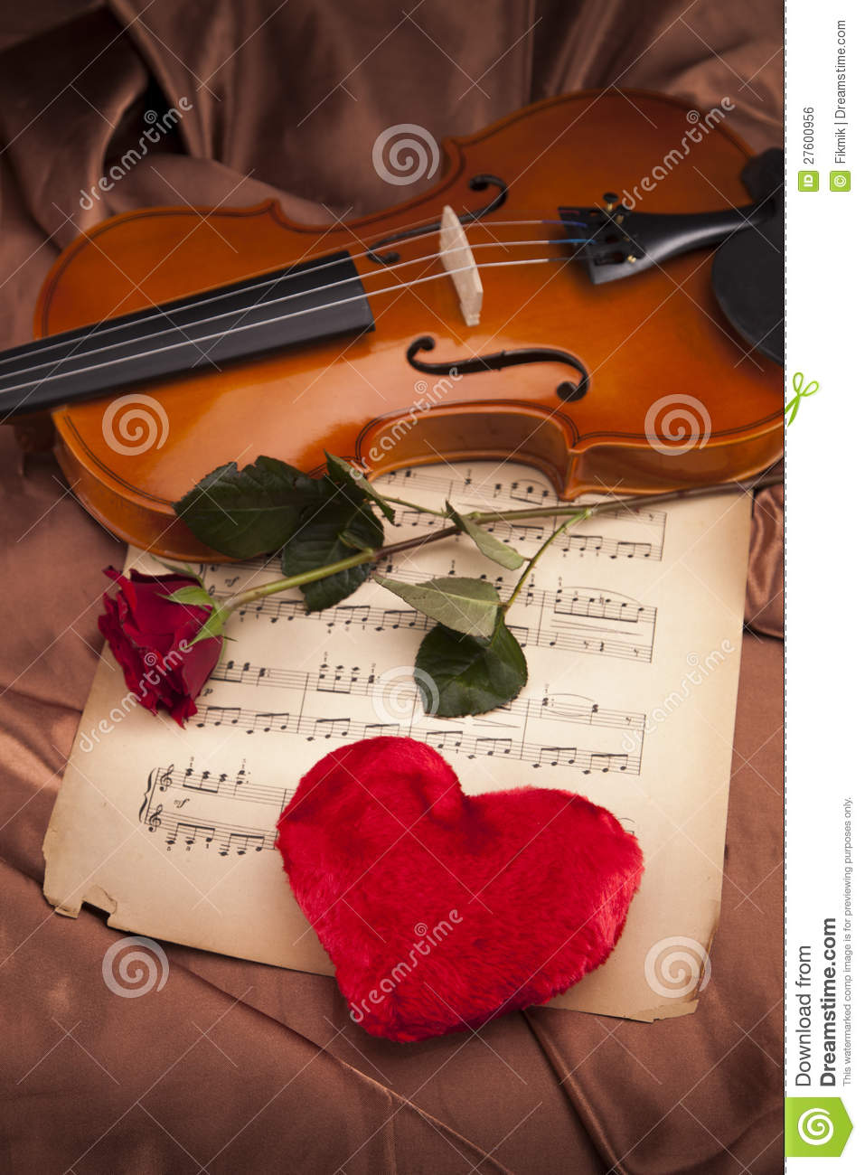 beautiful rose  heart and violin  royalty free stock image