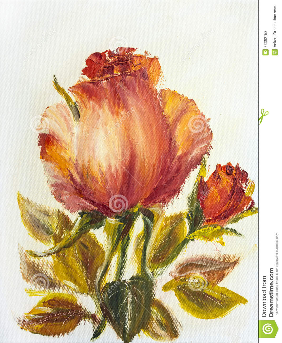 Beautiful rose oil painting stock illustration image for Beautiful canvas painting