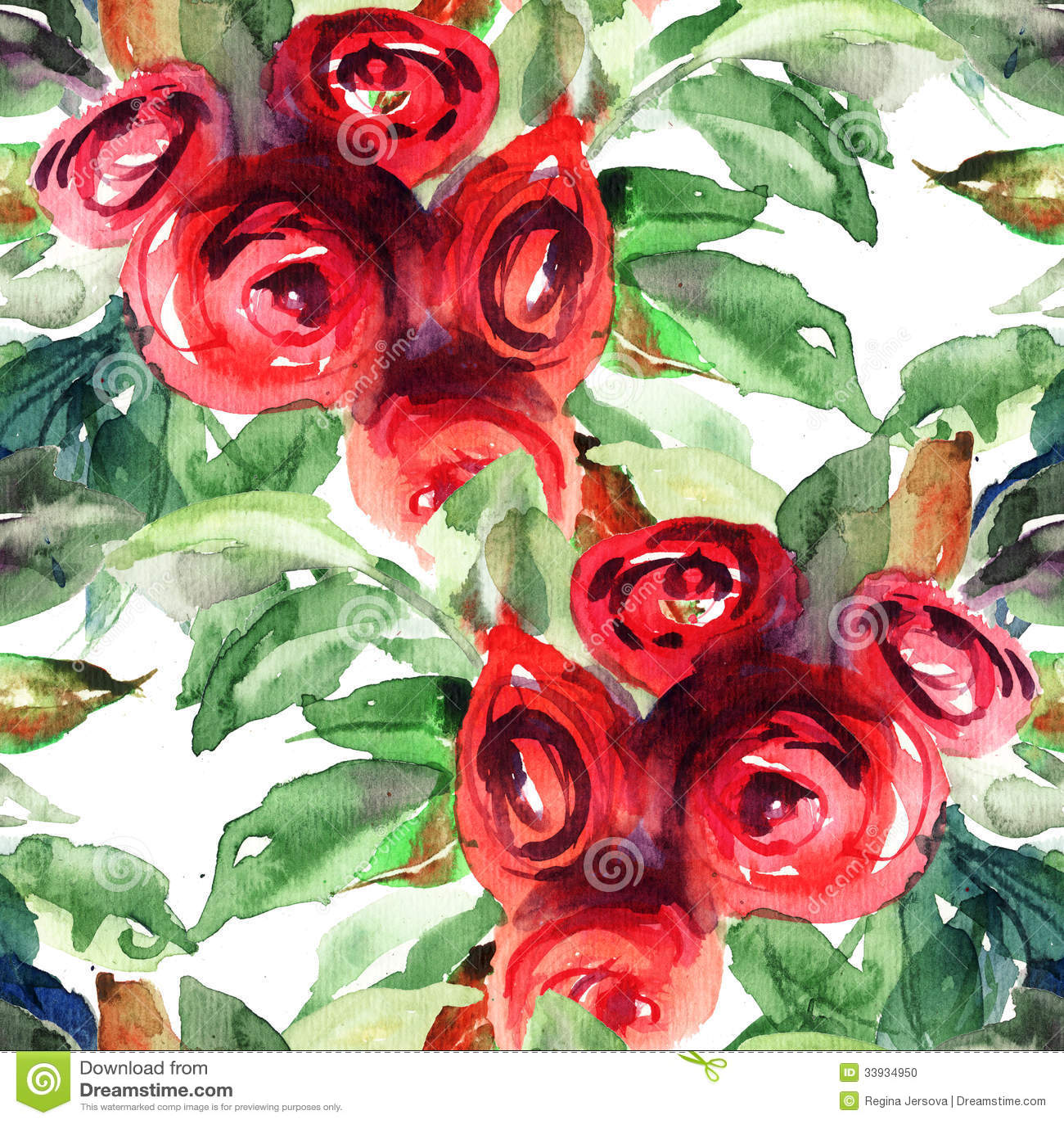 Beautiful Roses Flowers Watercolor Painting Stock Illustration