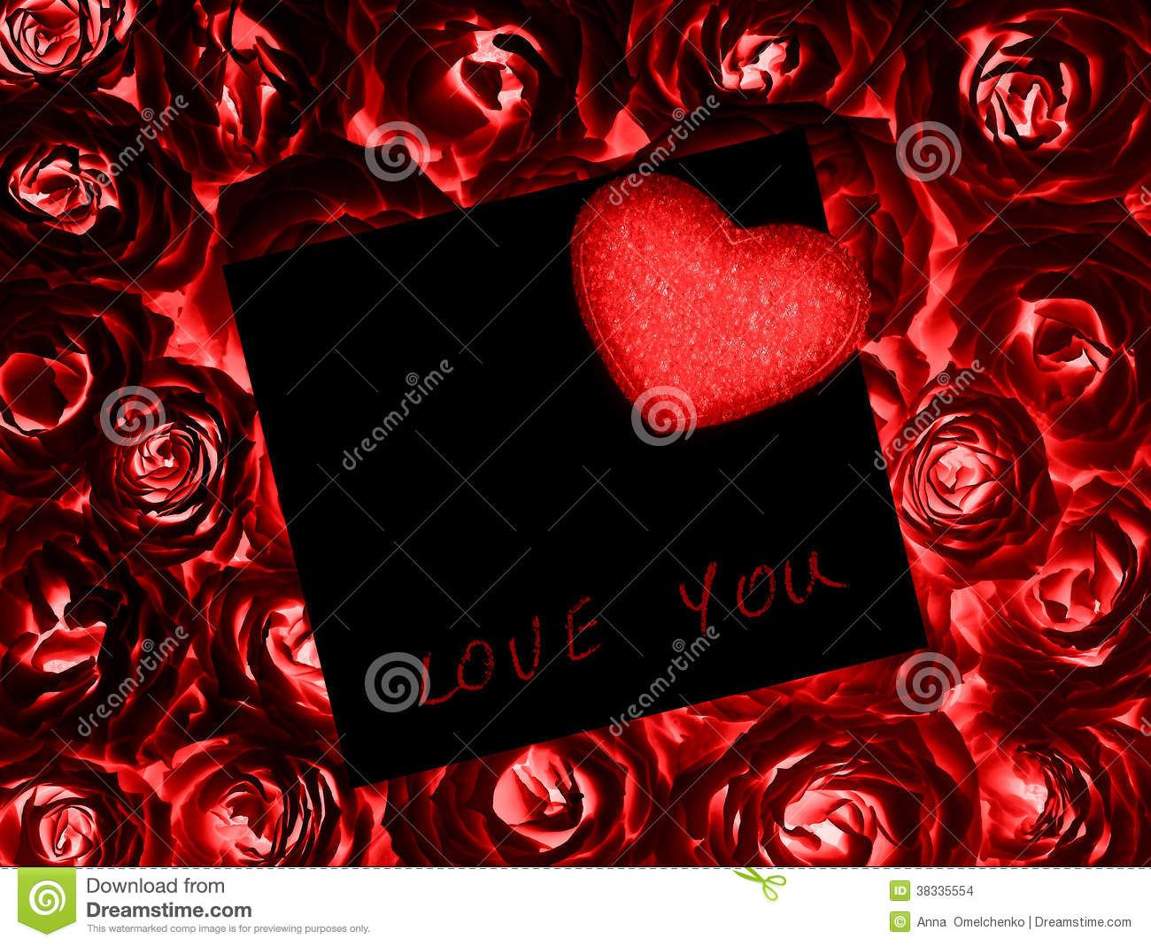 Beautiful Roses With Gift Card & Heart Stock Photo - Image