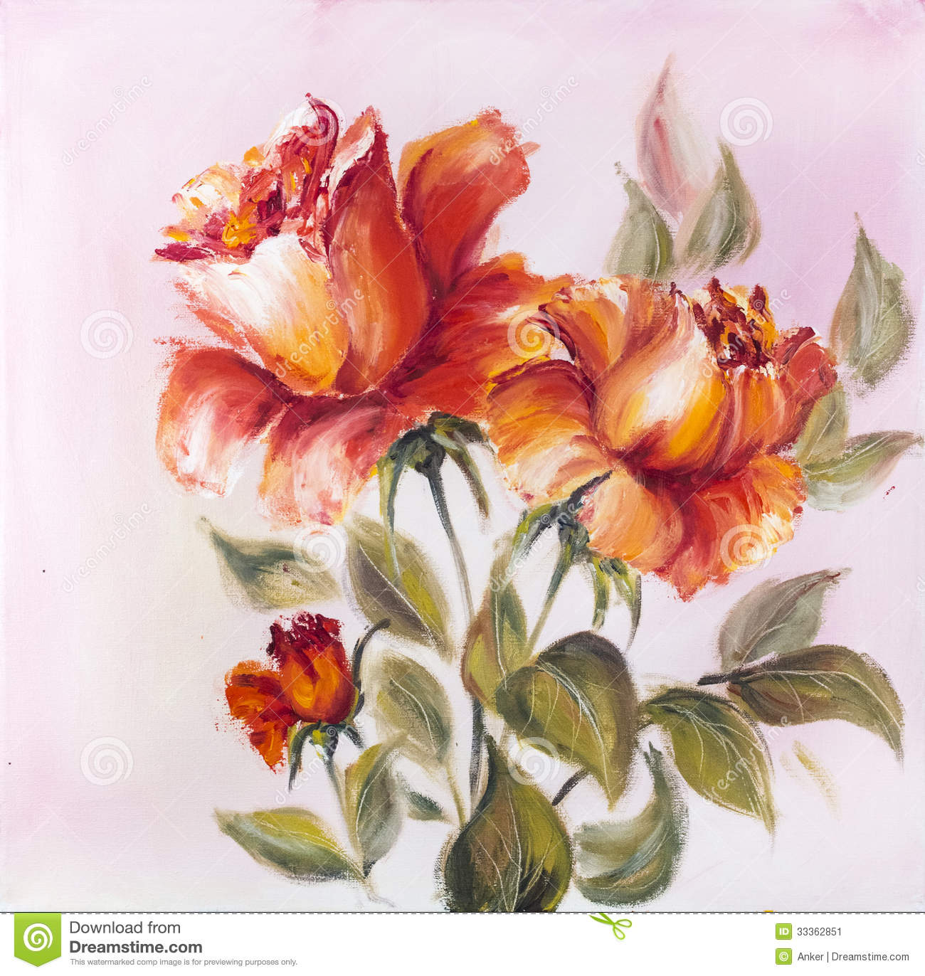 Beautiful roses oil painting stock illustration for How to paint flowers with oil paint