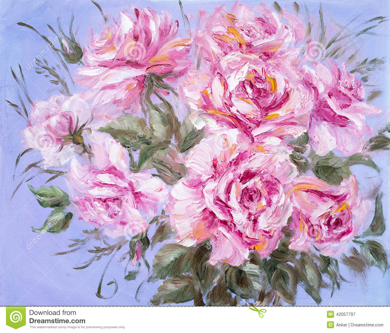Beautiful roses oil painting on canvas stock illustration for Beautiful canvas painting