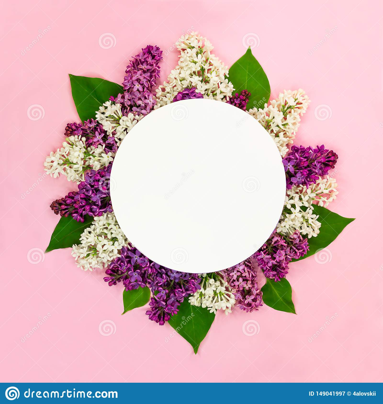 Beautiful round floral composition of white, purple lilac flowers with empty card and place for text on pink background. Summer