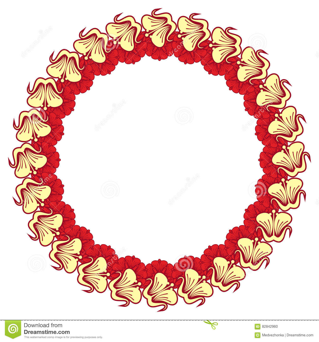 Beautiful Round Frame With Red Decorative Flowers Stock Illustration ...