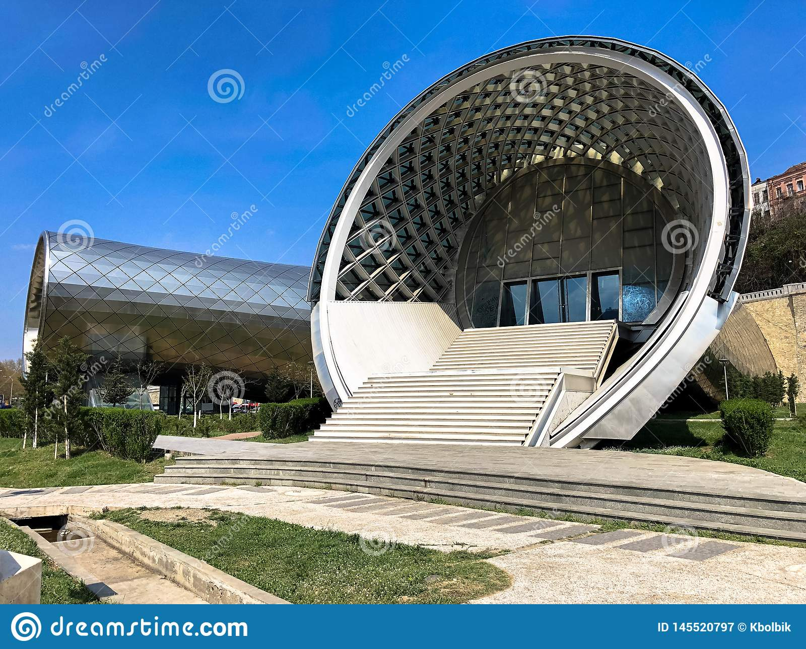 Dreamstime.com & Beautiful Round Unusual Modern Futuristic Abstract White Porch With ...