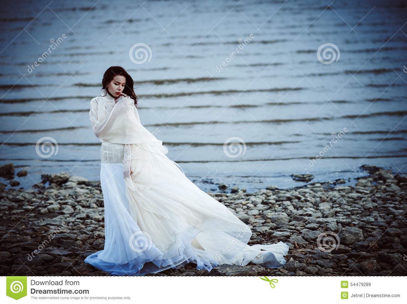 White dress by the shore - Beautiful Sad Girl In White Dress Standing On Sea Shore