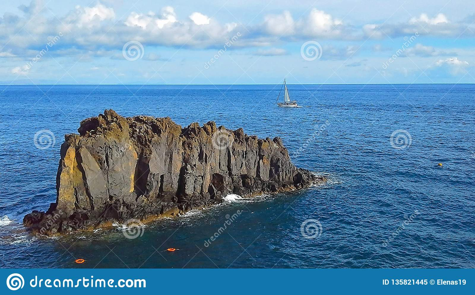 Beautiful Sailboat On The Background Rocks In The Atlantic ...