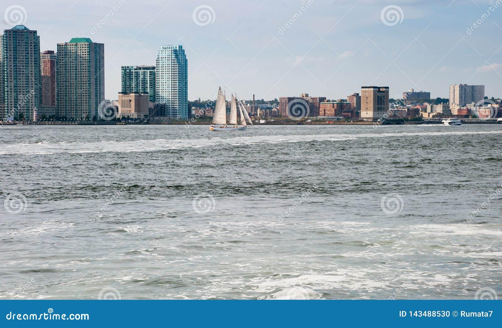 Hudson Bay New York.Beautiful Sailing Ship In Hudson Bay New York Manhattan S