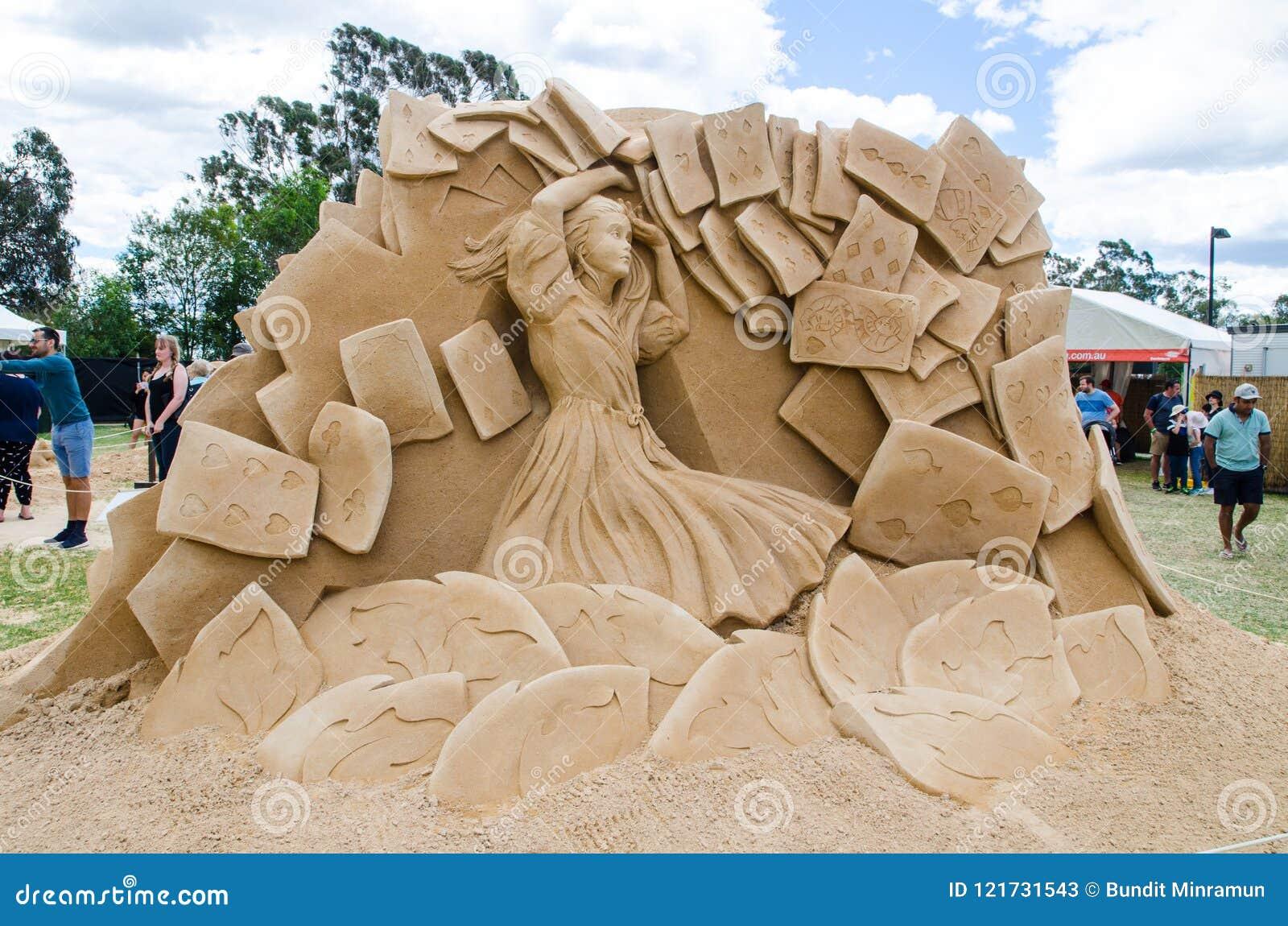 Beautiful Sand Sculpture `Card Soldiers` in Wonderland exhibition, at Blacktown Showground.