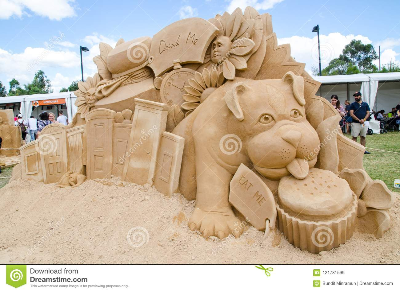 Beautiful Sand Sculpture `Hall of Doors` in Wonderland exhibition, at Blacktown Showground.