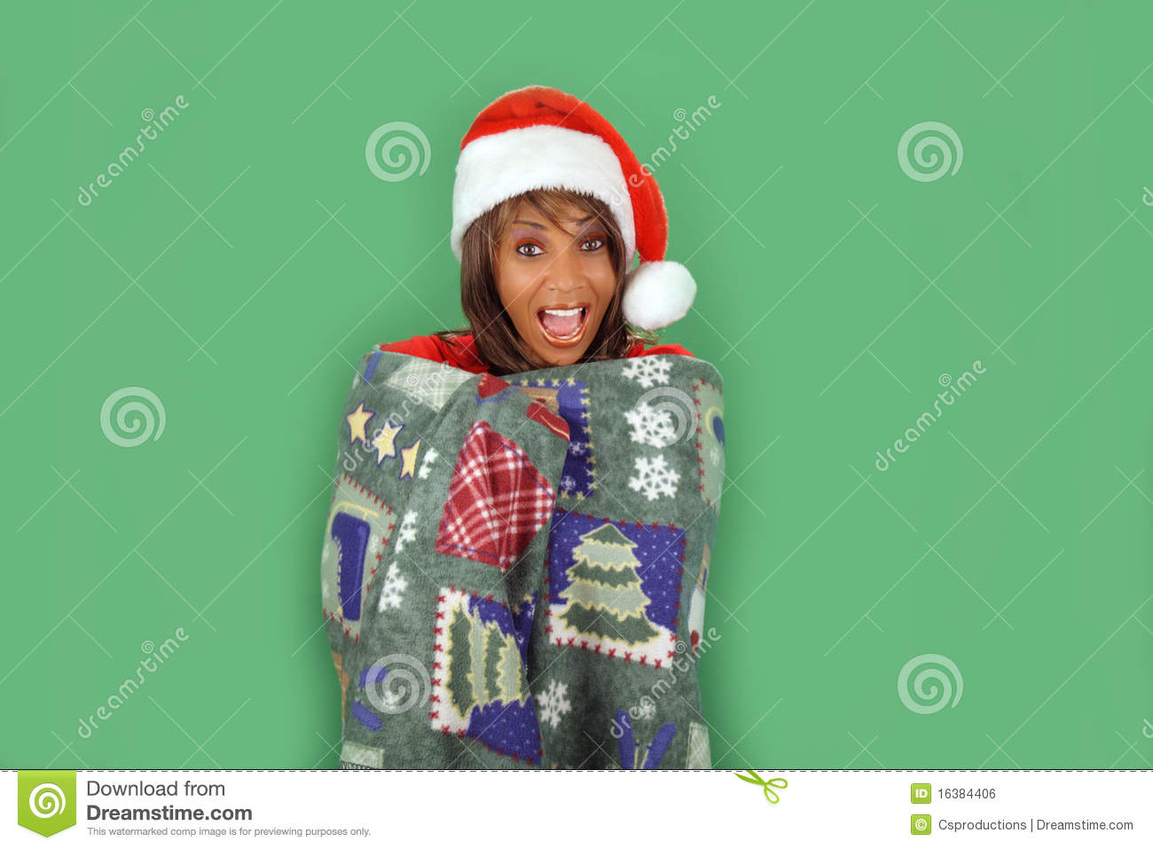 Lovely mature black woman wearing a santa s helper hat and wrapped
