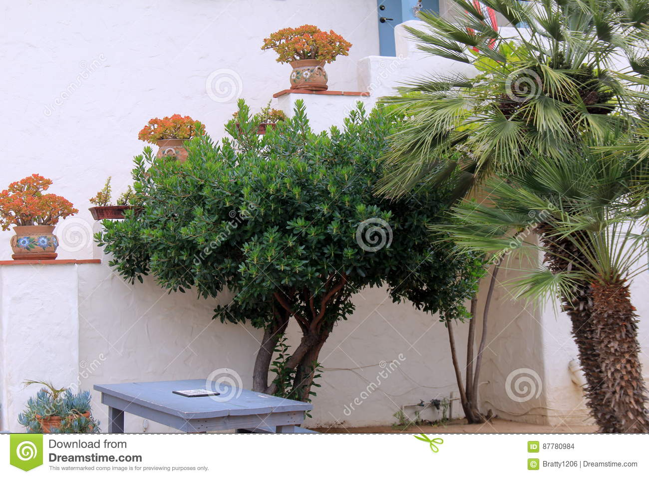 Beautiful Scene Of Large Potted Flowers And Trees Near Entrance Of