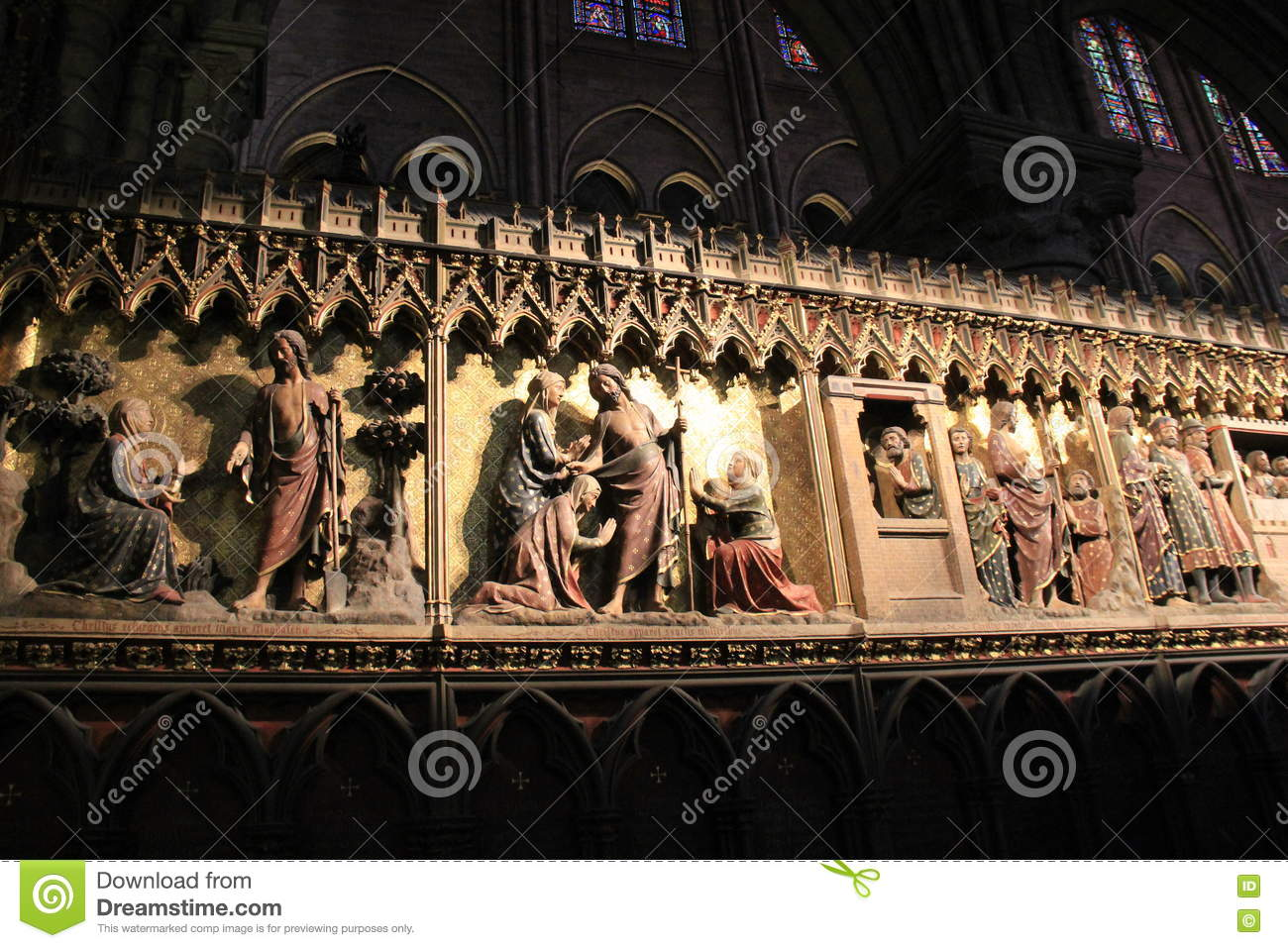 Editorial Stock Photo. Download Beautiful Scene Of Religious Wall Murals  Inside Notre Dame ...