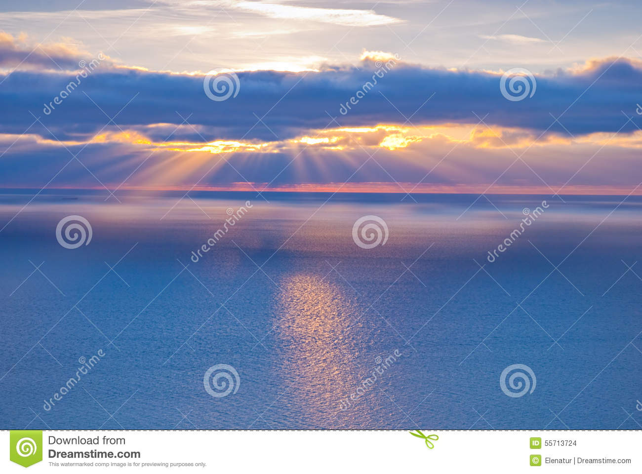 Beautiful scenery with clouds and sunbeams