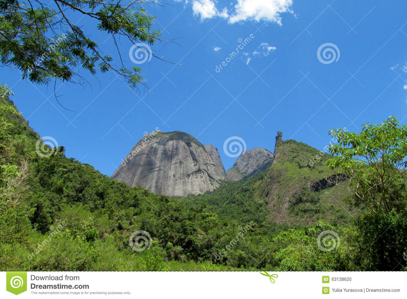 Beautiful Scenery Of Green Hill And Smooth Rock Stock ...