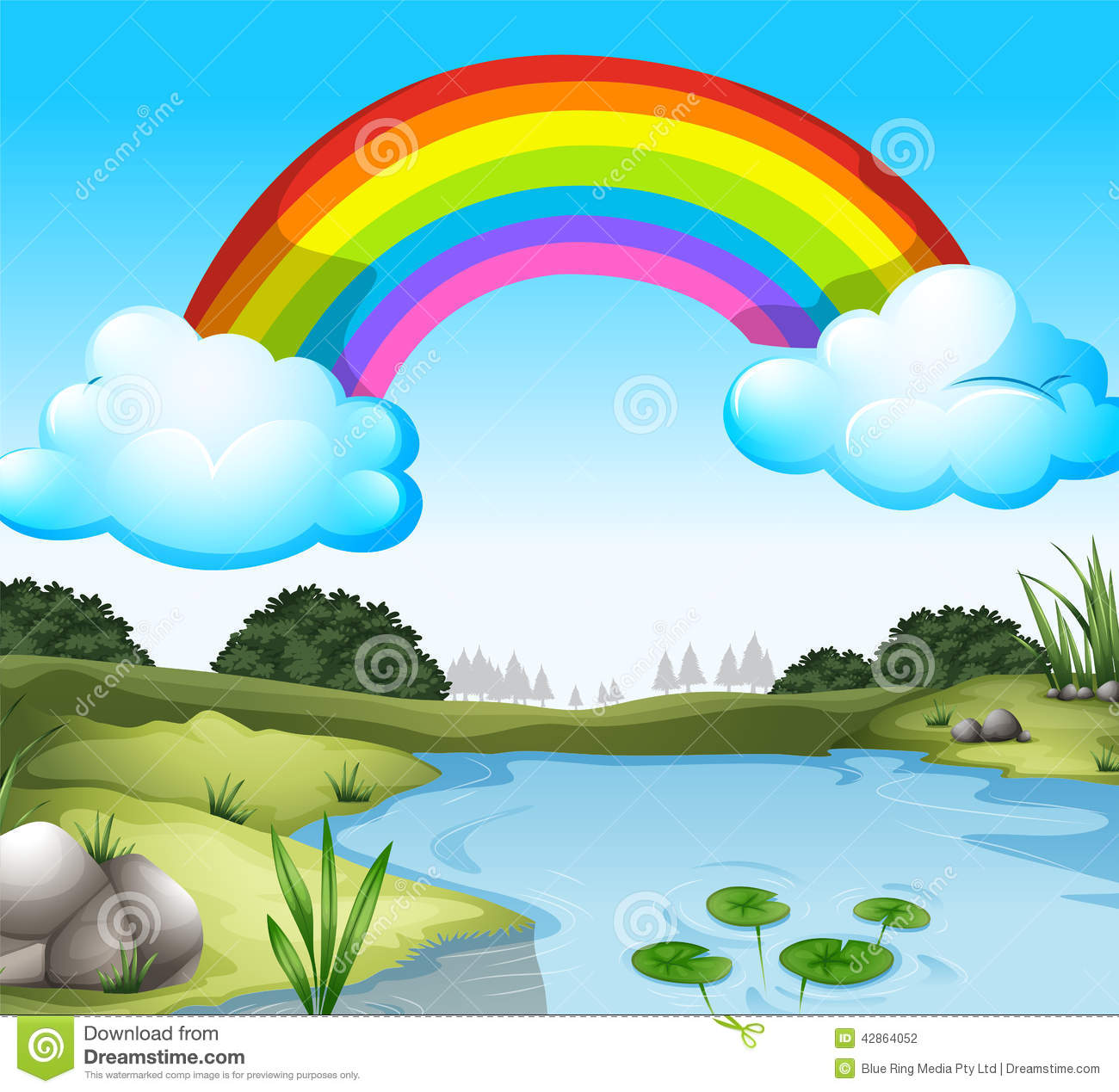 a beautiful scenery with a rainbow in the sky stock vector