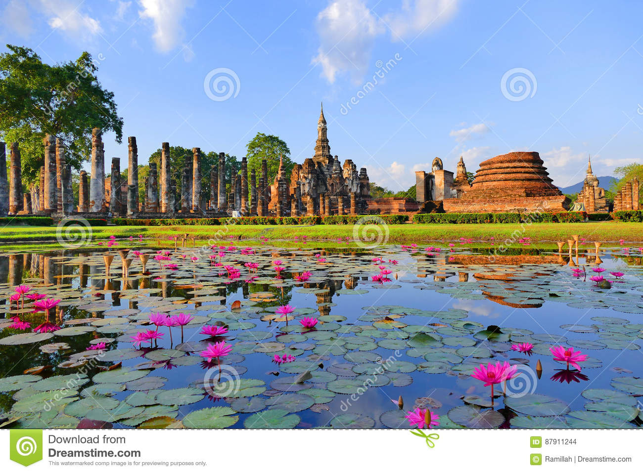 Beautiful Scenery Scenic View Ancient Buddhist Temple Ruins of Wat Mahathat in The Sukhothai Historical Park, Thailand in Summer