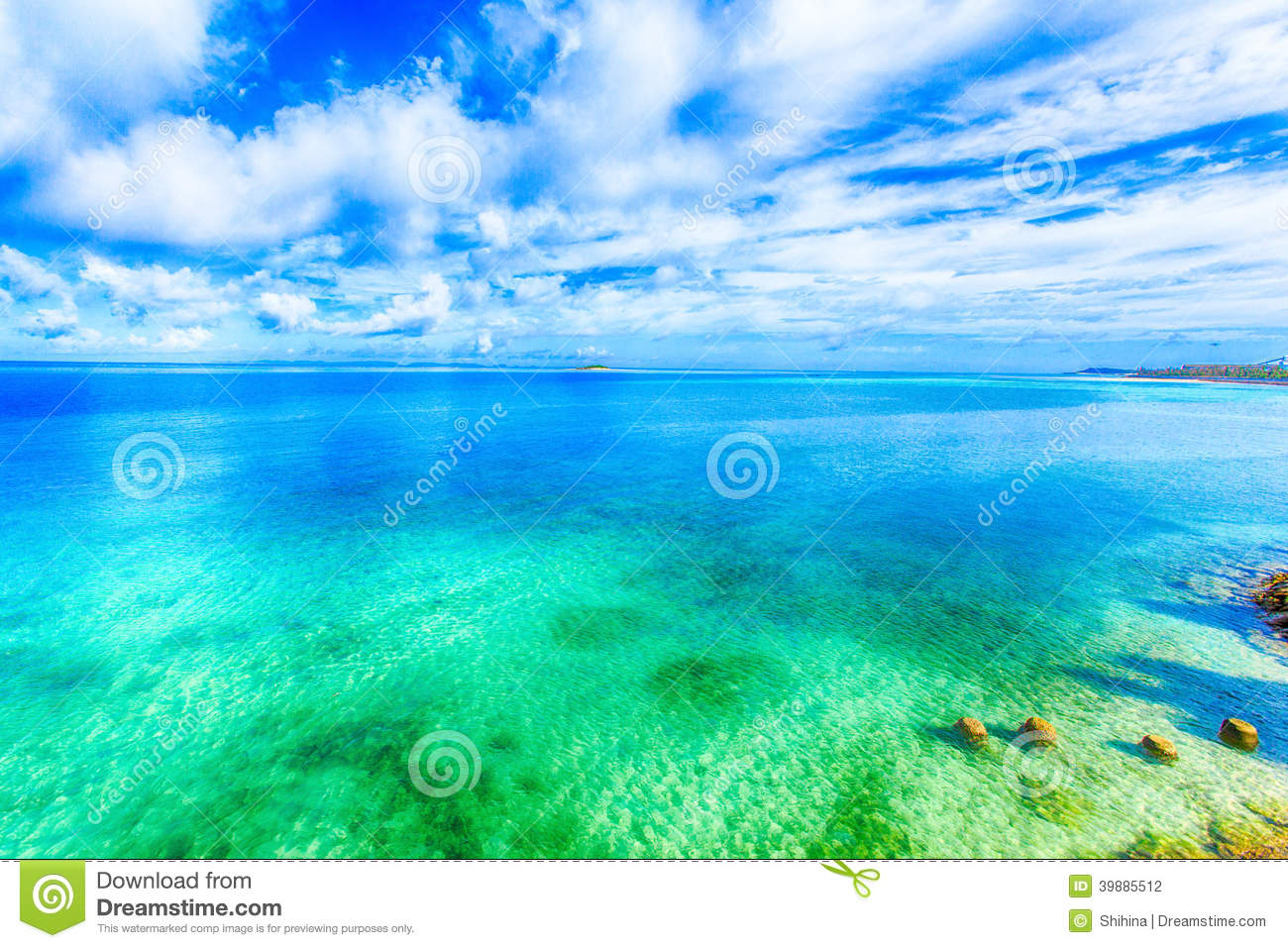 Download Beautiful Scenery Of Shining Blue Sky And Ocean In Okinawa Stock Photo
