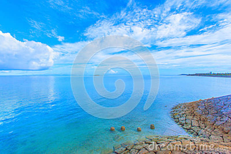 Download Beautiful Scenery Of Shining Blue Sky And Ocean In Okinawa Stock Image