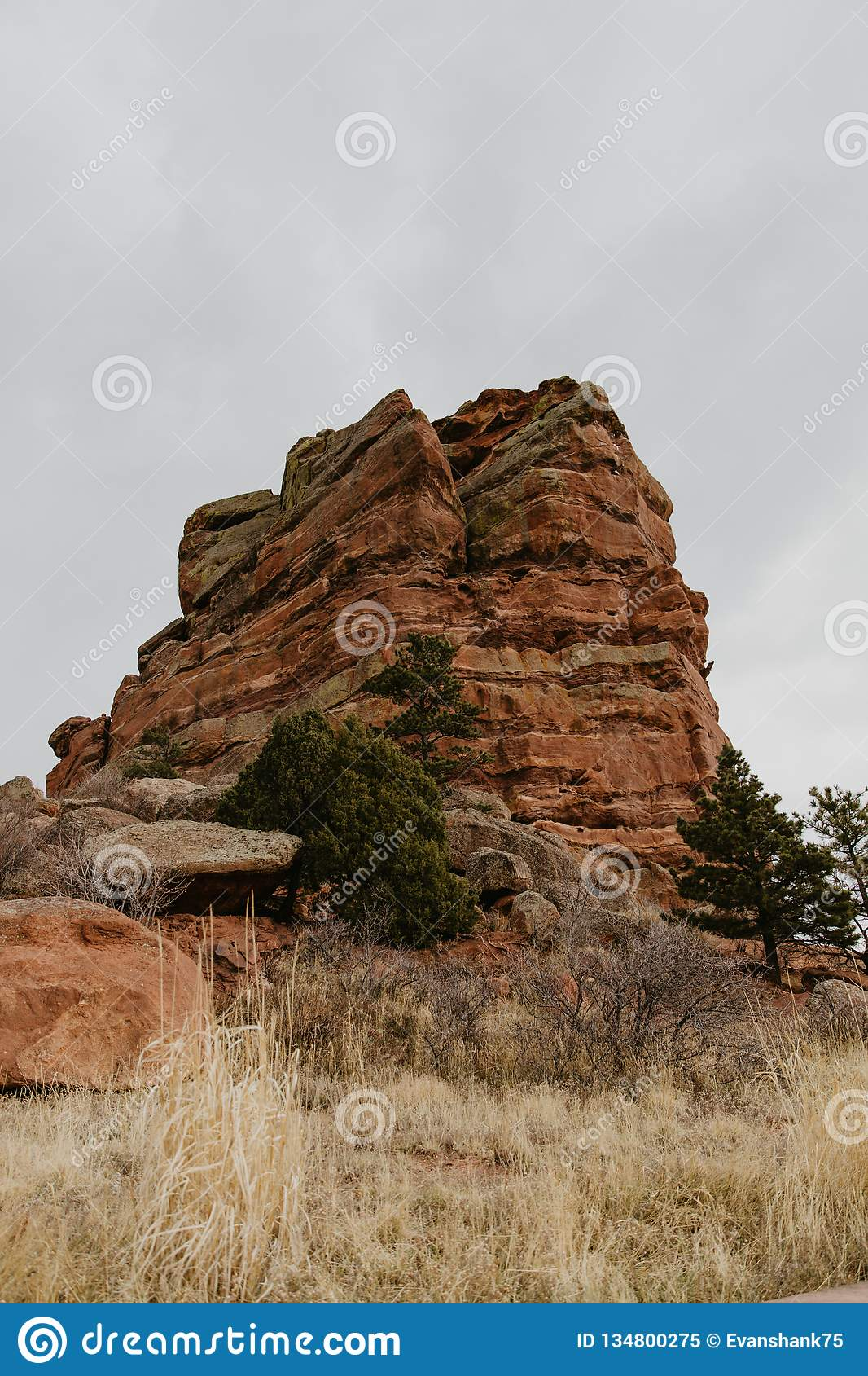 Beautiful Scenic View of Tall Red Rock Mountain Peak in USA Natural Southwest State Park