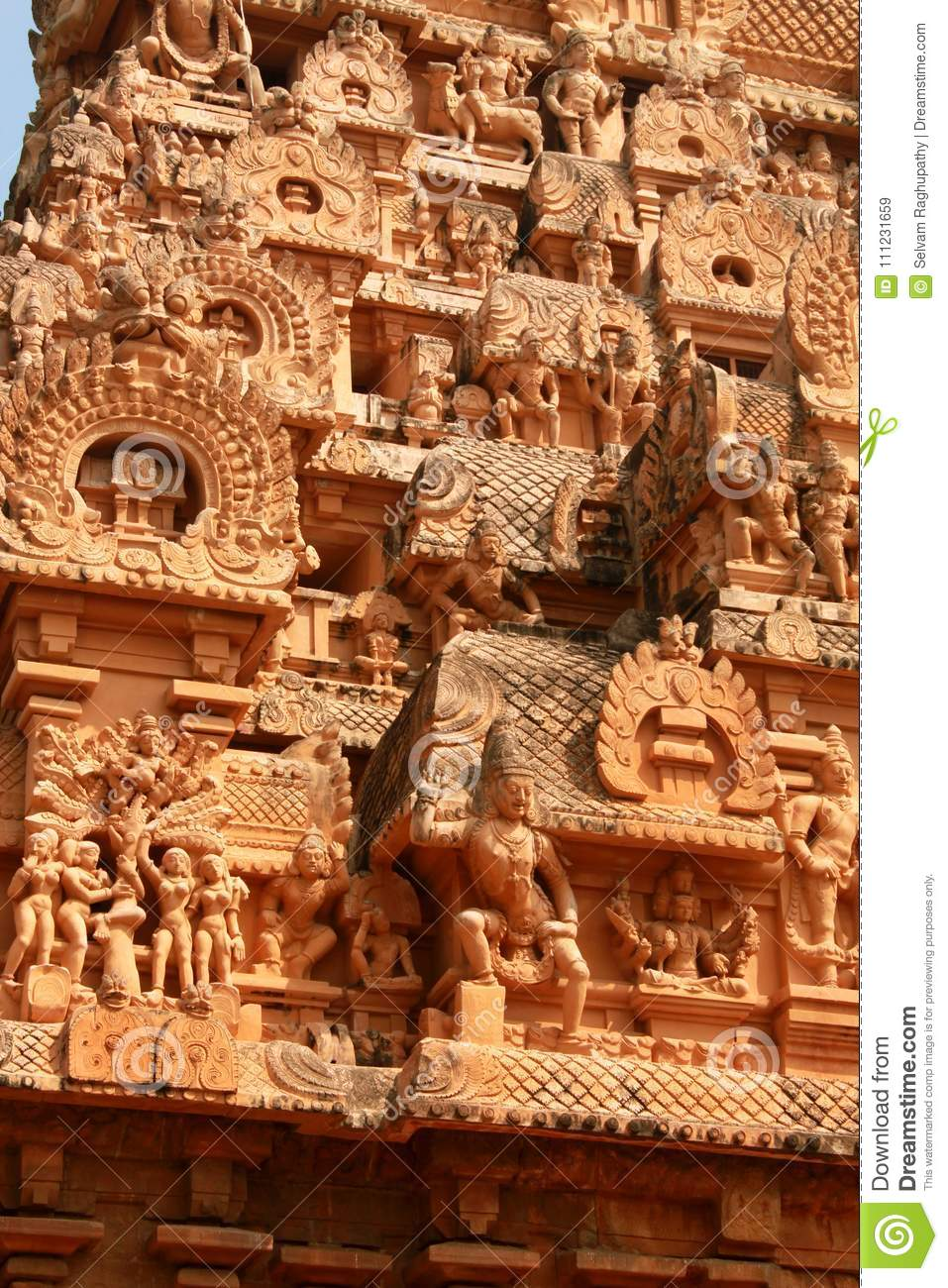 Beautiful Sculptures On The Ornamental Tower In The Ancient Brihadisvara  Temple In Thanjavur, India. Stock Image - Image of gopura, architecture:  111231659