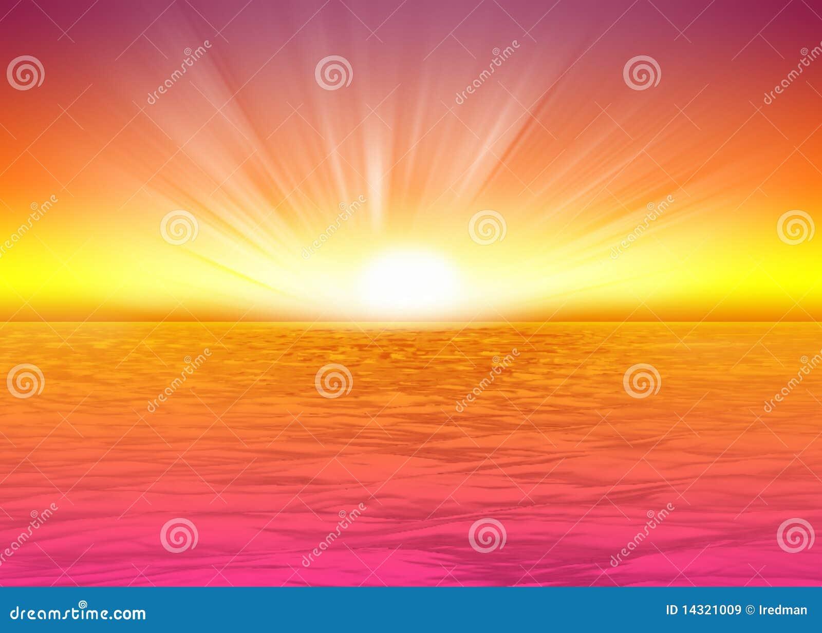 beautiful sea background rising sun royalty free stock