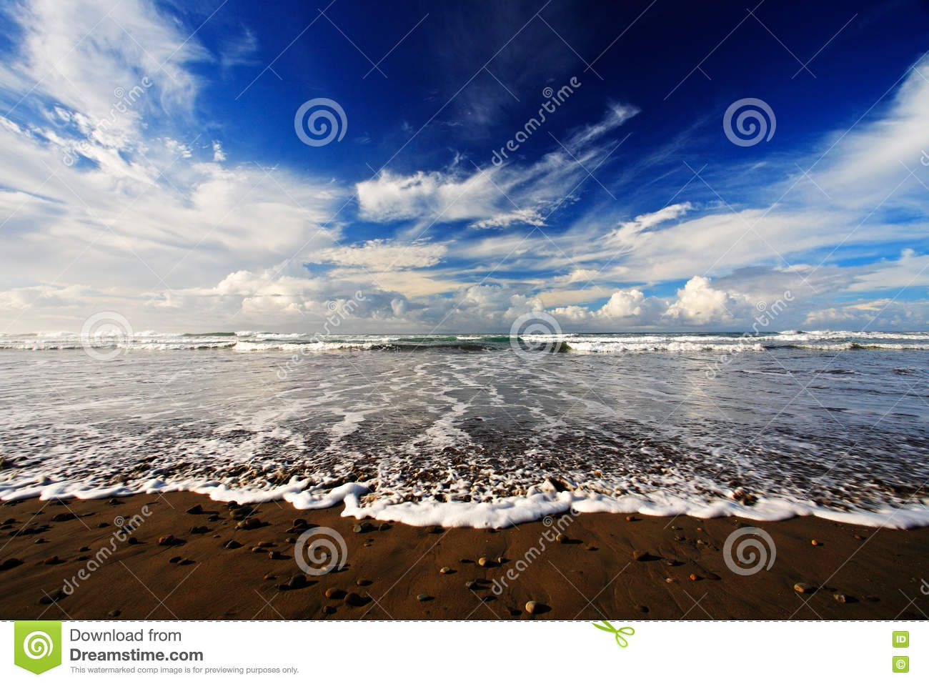 The Pebble And Sand Beach At Sunrise With Dark Blue Wave White Clouds Costa Rica Coast