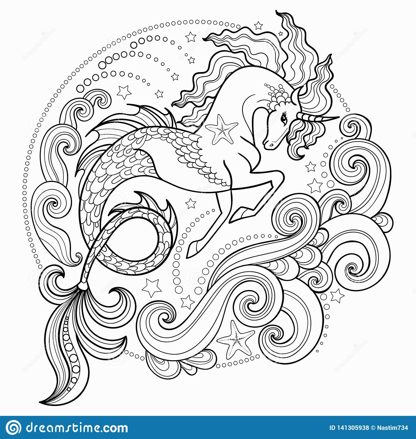 Beautiful Sea Unicorn Surrounded By Waves Hippocampus Black And