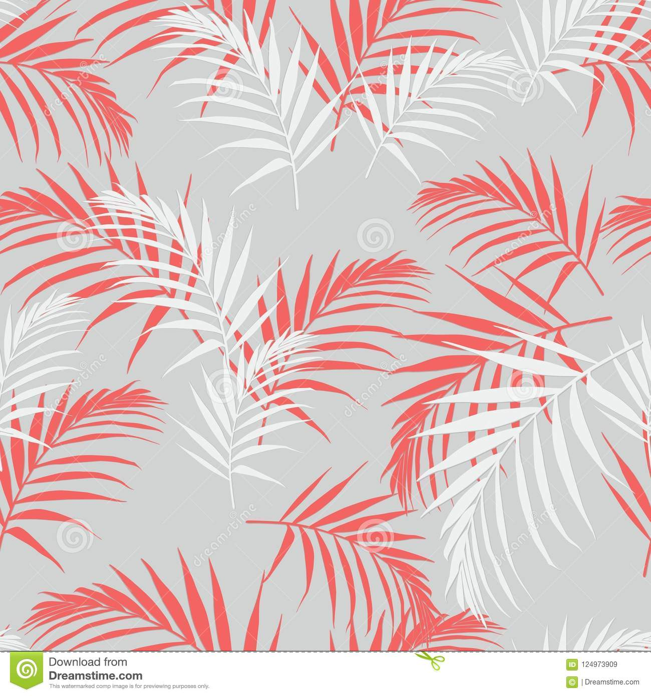 Beautiful Seamless Abstract Floral Pattern With Palm Orange Leaves