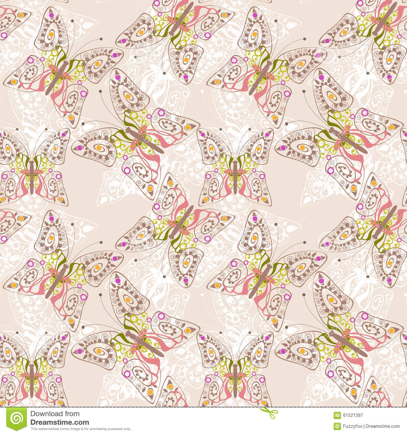 Beautiful seamless background of butterflies beige pastel for Beautiful pastel colors