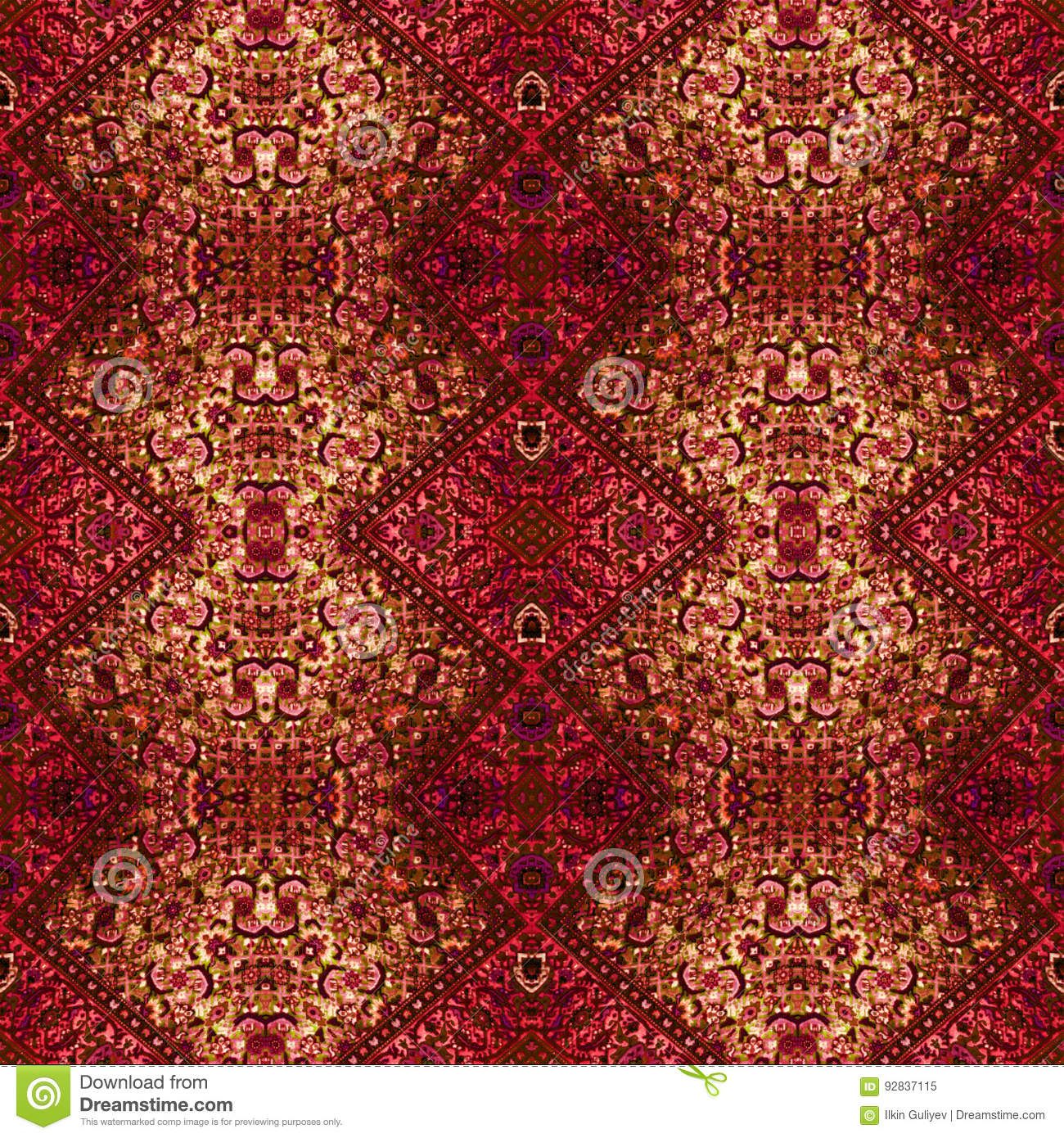 seamless red carpet texture. Download Beautiful Seamless Eastern Carpet Decoration Pattern, Abstract Ornament Of Round And Square Or Rhombus Red Texture