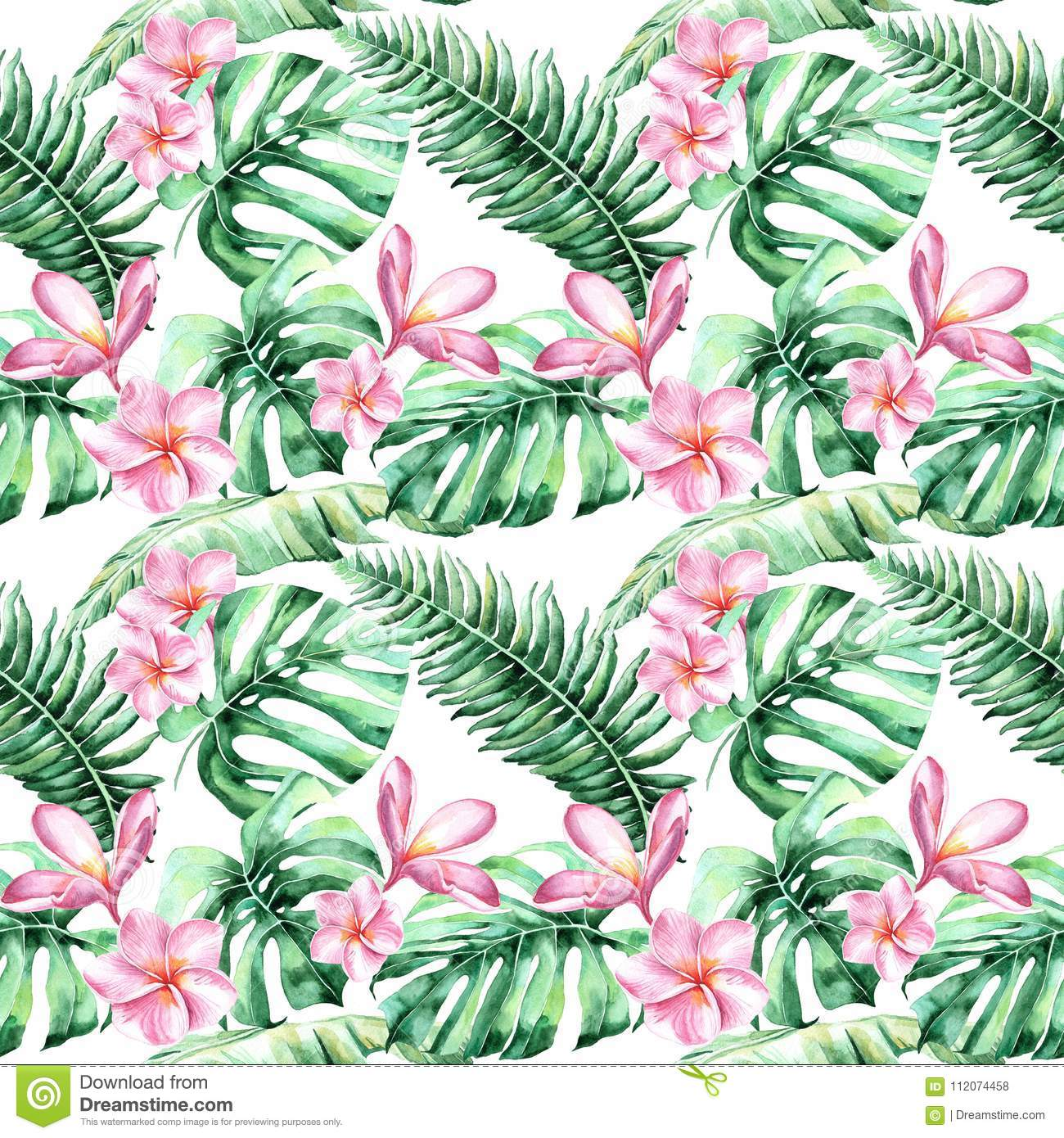 Watercolor Background With Tropical Flowers Palm Leaves Jungle