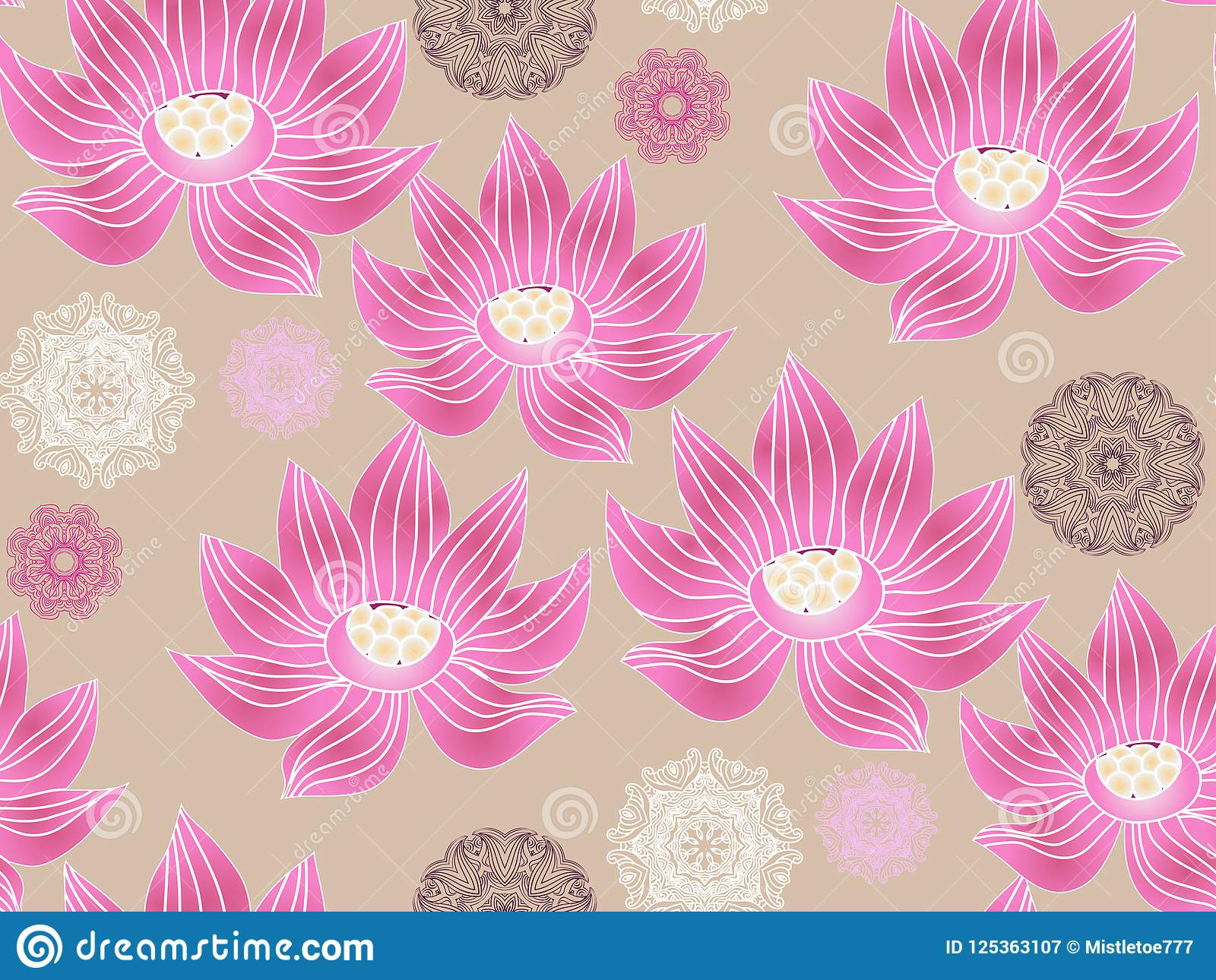 Lotus Pattern2 Stock Vector Illustration Of Line Drawing 125363107