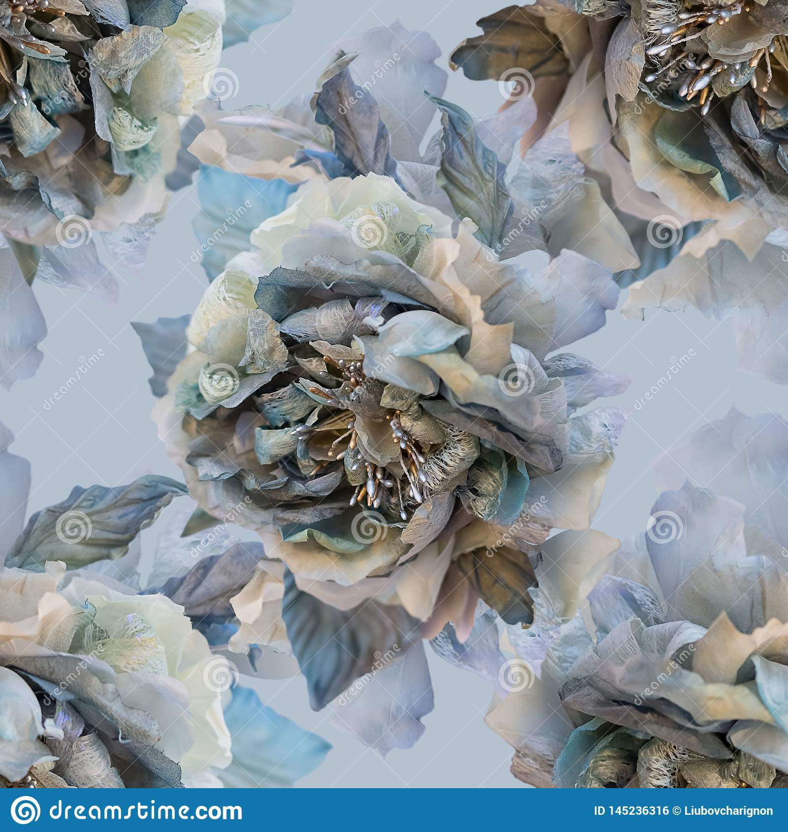 Beautiful seamless pattern with flowers of silk roses.