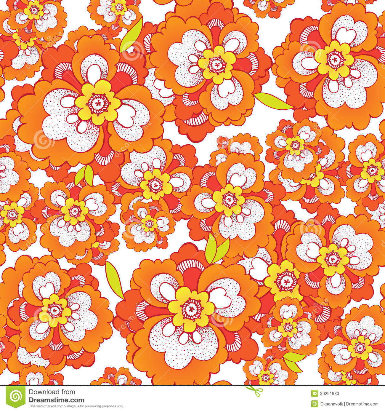 Seamless Vector Pattern With Orange Flowers Stock Photo