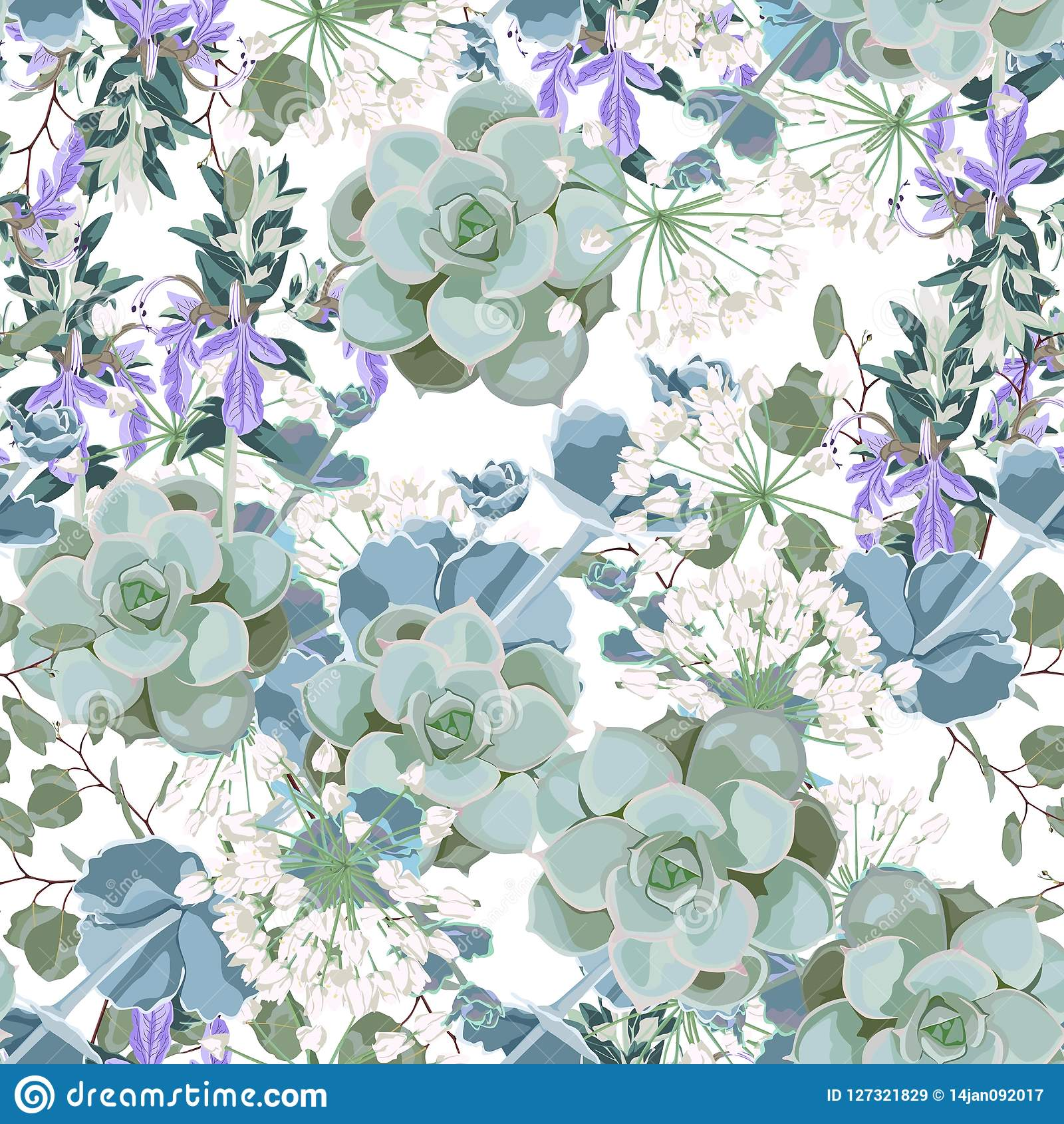 Beautiful Seamless Spring Pattern Wild Flowers Succulent Vintage Background Image Jpg