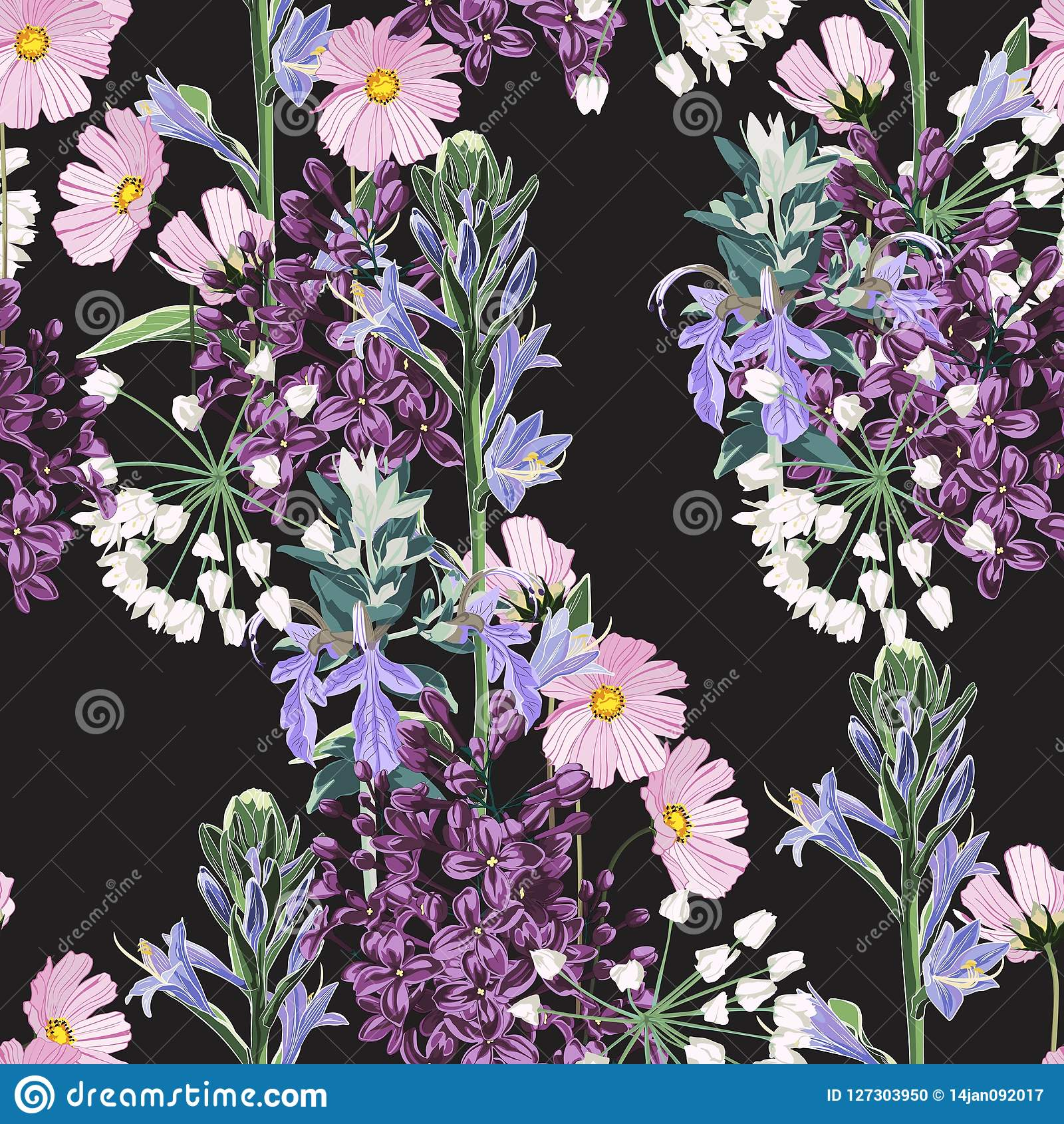 Beautiful Seamless Spring Pattern With Wild Flowers Vintage