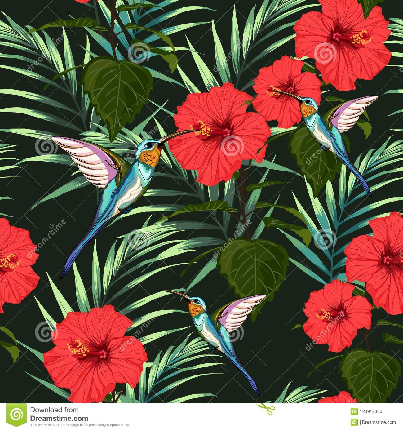 Beautiful seamless vector floral summer pattern background with hummingbird, red hibiscus flowers and palm leaves.