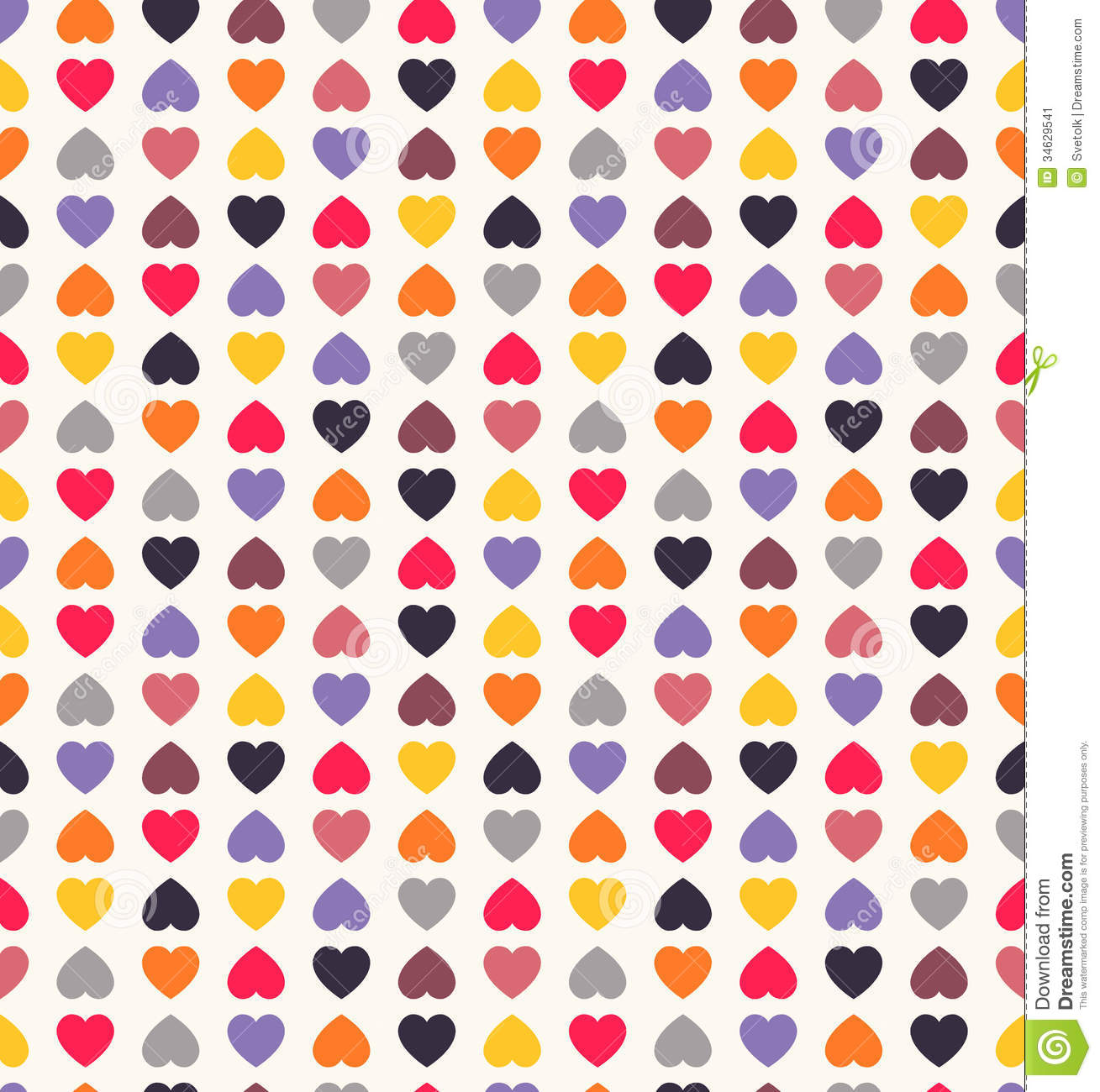 Beautiful Seamless Vector Pattern With Hearts Stock Vector