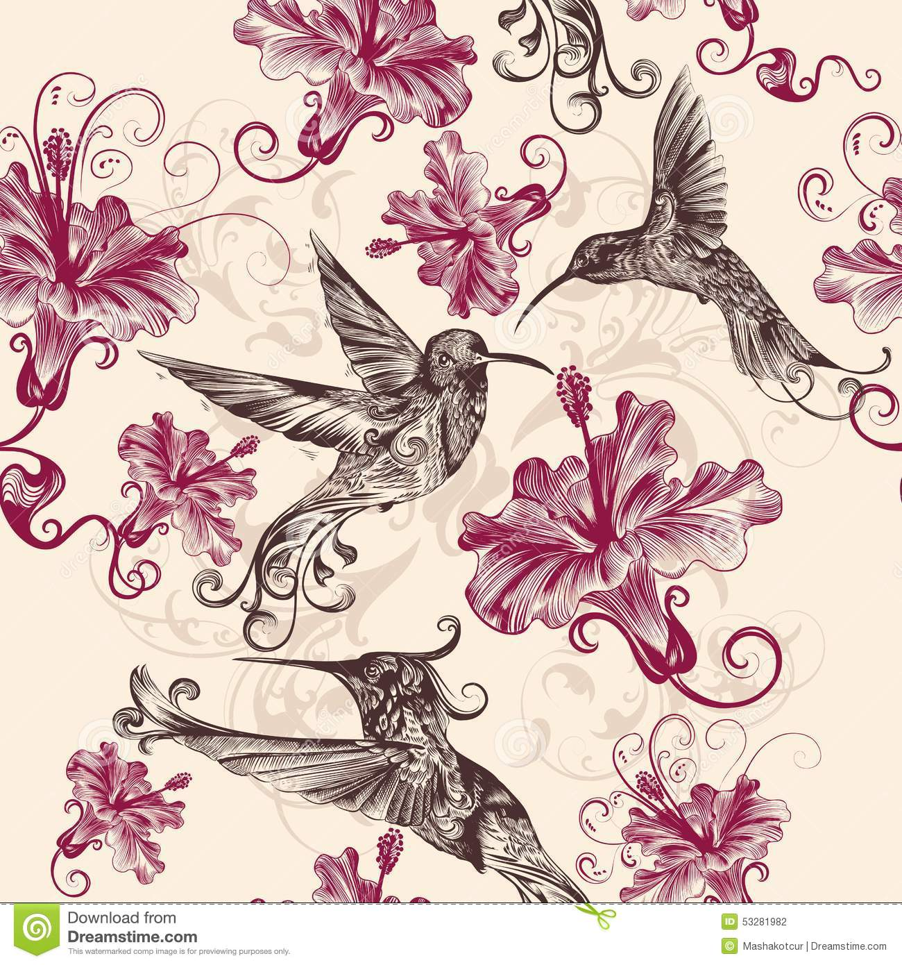 hummingbirds and flowers patterns