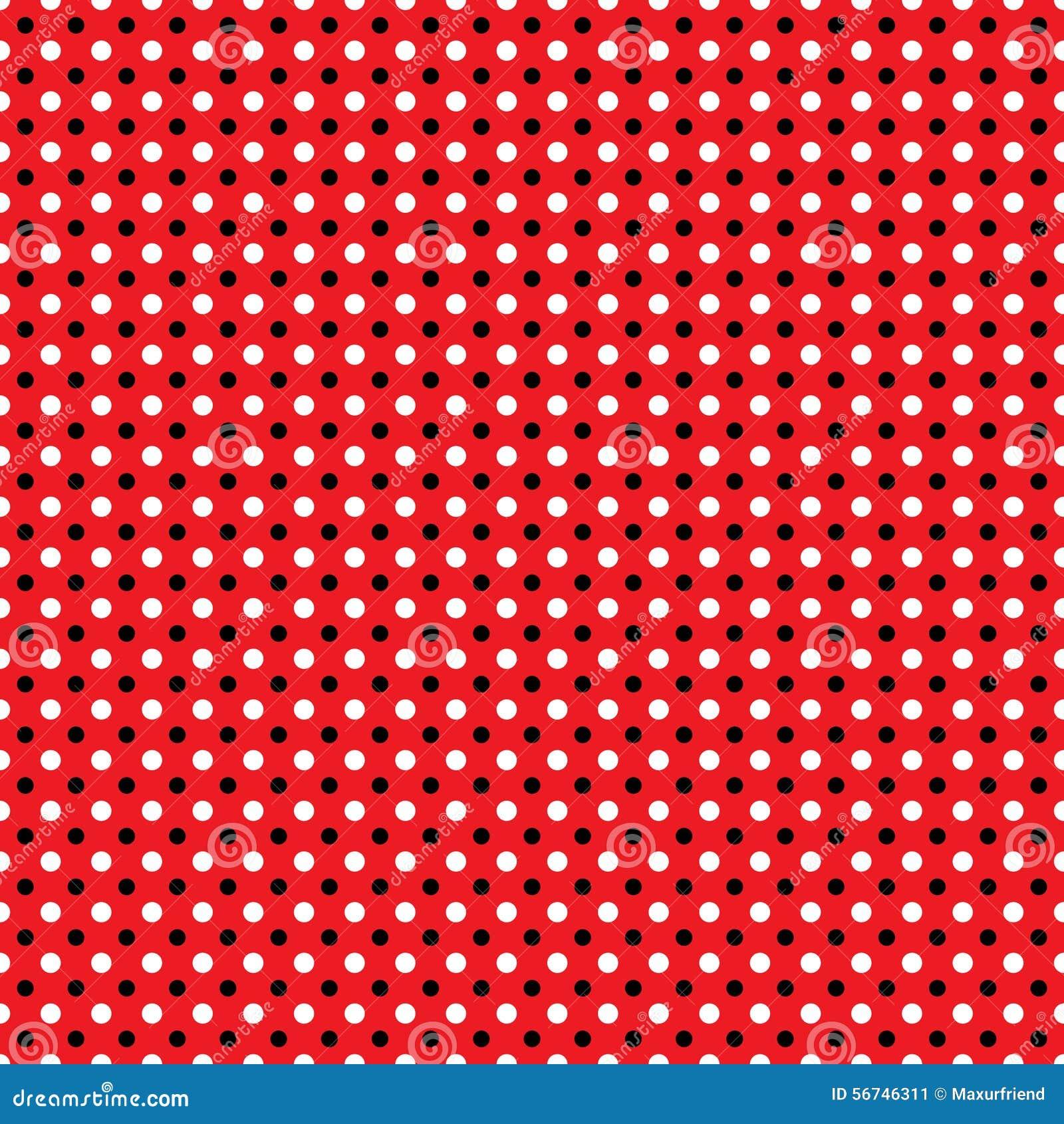 beautiful seamless white black polka dots pattern on red