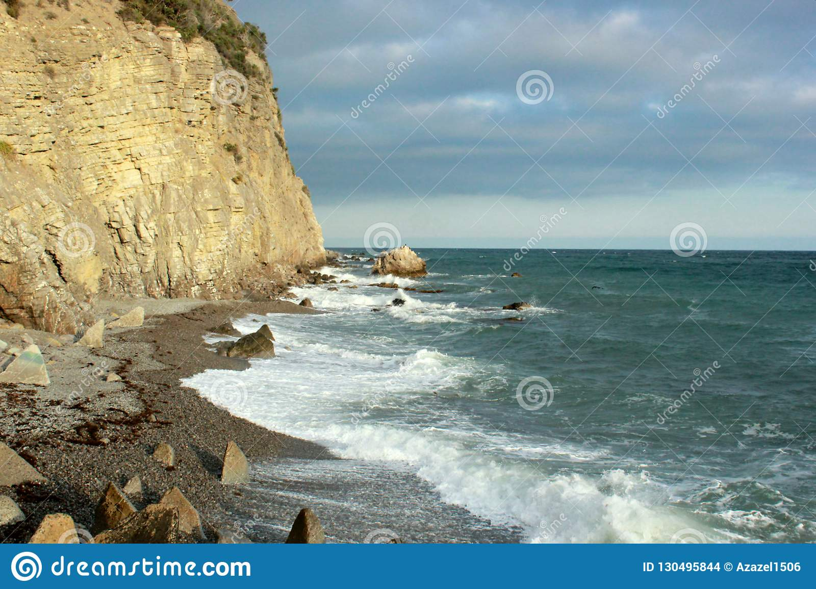 Beautiful seascape, rocks and sea, blue, turquoise water and sky