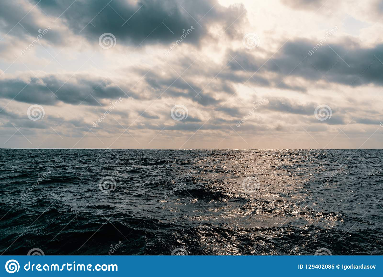 Beautiful seascape from ship or vessel. Open ocean.  royalty free stock photo