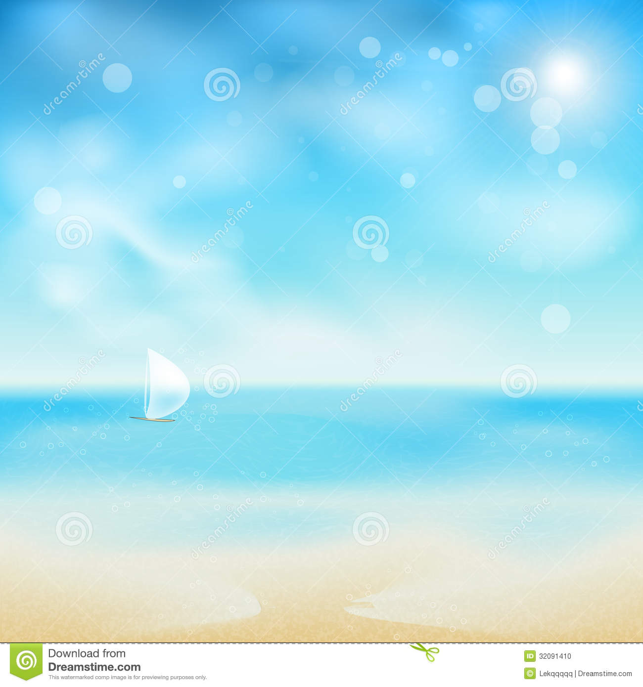 Beautiful Sunny Day At Tropical Beach Royalty Free Stock: Beautiful Seaside Look In A Sunny Day With Sand An Stock
