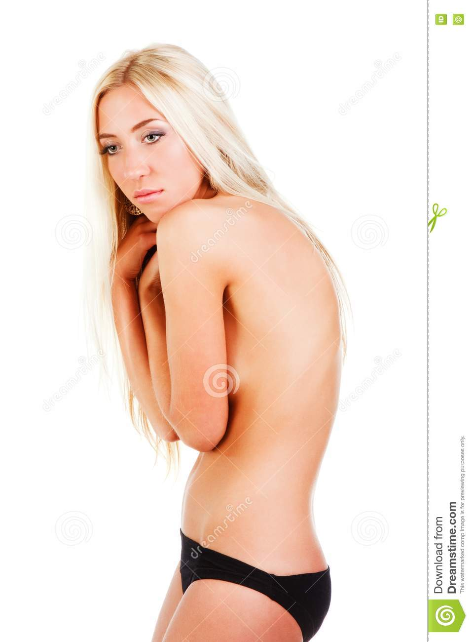 Picture Of A Beautiful Seduce Young Topless Girl On White Background
