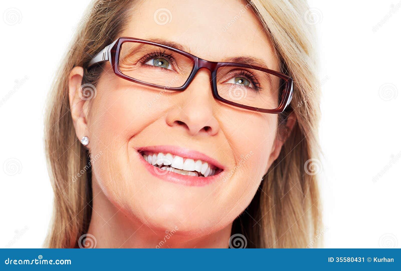 Beautiful Senior Woman Wearing Eyeglasses. Stock Image