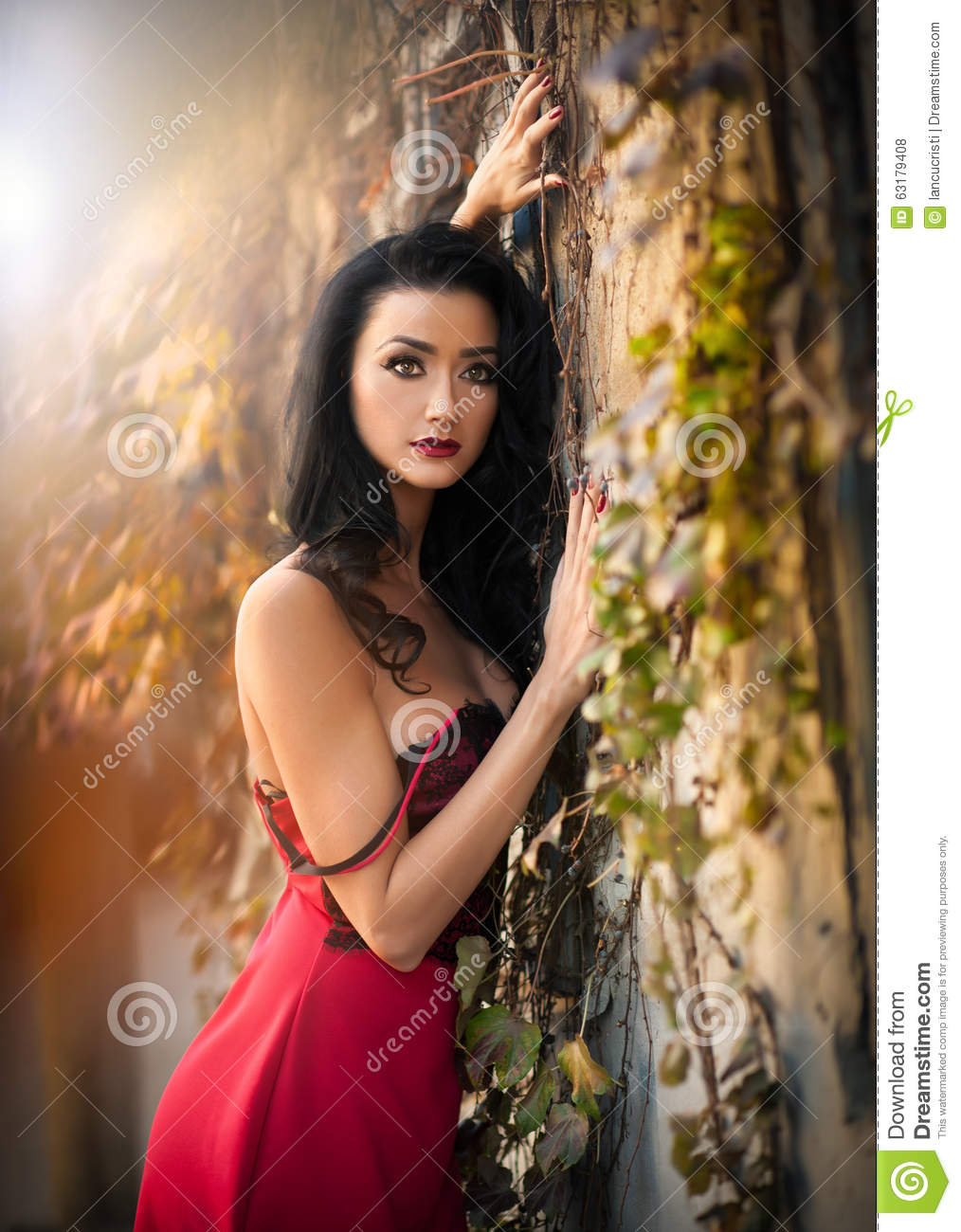 Beautiful Sensuality Teen Girl With Long Hair: Beautiful Sensual Woman In Red Dress Posing In Autumnal