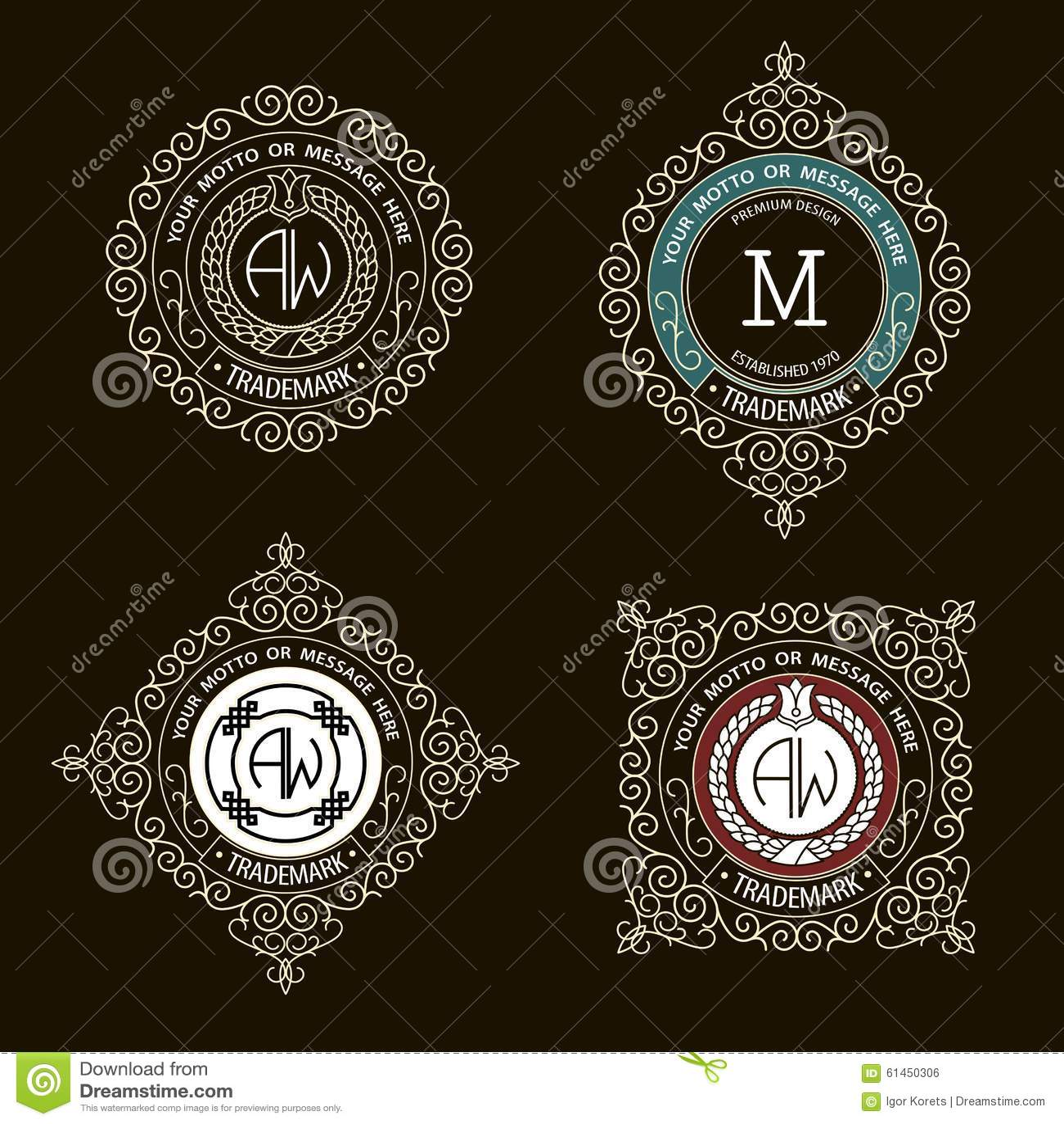 ... emblem template. Premium elegant frame ornament line logo design